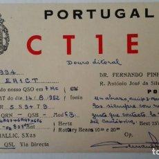 Radios antiguas: TARJETA RADIOAFICIONADO, CT-1-EE, PORTO, PORTUGAL AÑOS 50. Lote 174023435
