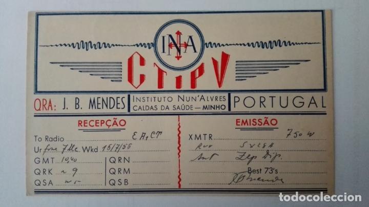TARJETA RADIOAFICIONADO, CT-1-PV, MINHO, PORTUGAL AÑOS 50 (Radios, Gramófonos, Grabadoras y Otros - Radioaficionados)