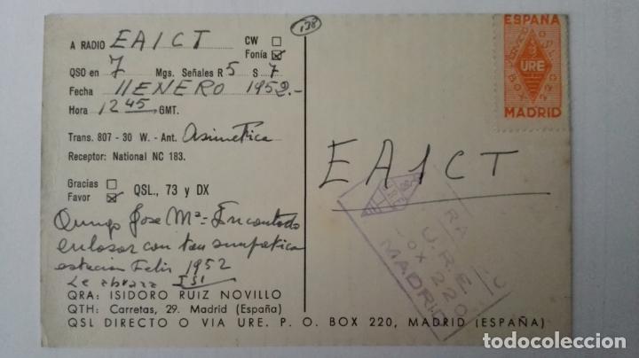 Radios antiguas: TARJETA RADIOAFICIONADO, EA-4-DO, MADRID AÑOS 50 - Foto 2 - 174023608
