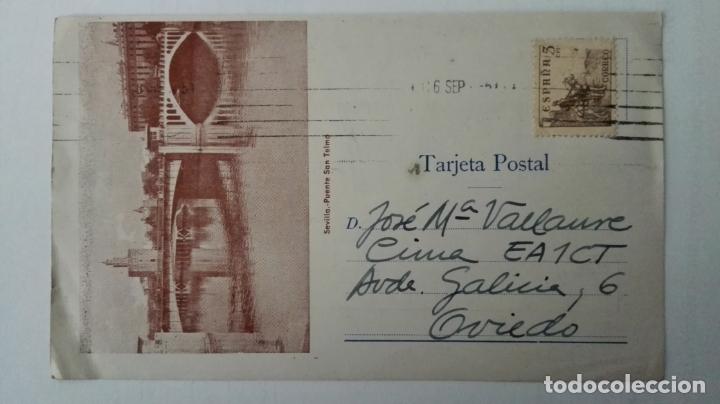 Radios antiguas: TARJETA RADIOAFICIONADO, EA-7-EQ, SEVILLA, AÑOS 50 - Foto 2 - 174023693