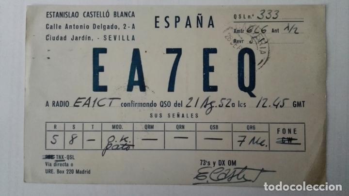 TARJETA RADIOAFICIONADO, EA-7-EQ, SEVILLA, AÑOS 50 (Radios, Gramófonos, Grabadoras y Otros - Radioaficionados)