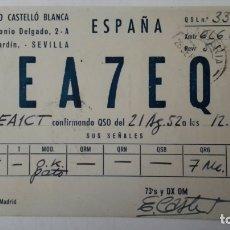 Radios antiguas: TARJETA RADIOAFICIONADO, EA-7-EQ, SEVILLA, AÑOS 50. Lote 174023693