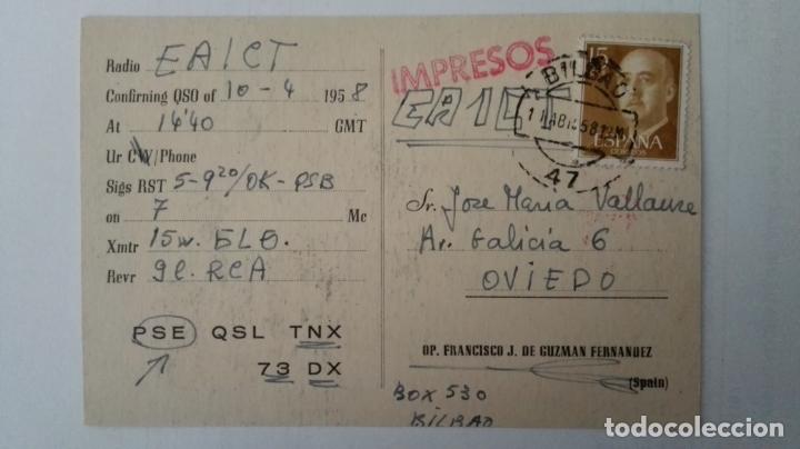Radios antiguas: TARJETA POSTAL RADIOAFICIONADO, EA-2-FI, BILBAO, AÑOS 50 - Foto 2 - 174023850
