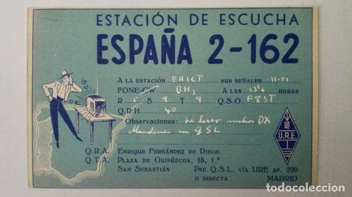TARJETA POSTAL RADIOAFICIONADO, ESPAÑA-2-162, SAN SEBASTIAN, AÑOS 50 (Radios, Gramófonos, Grabadoras y Otros - Radioaficionados)