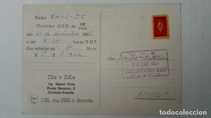 Radios antiguas: TARJETA RADIOAFICIONADO, EA-7-GZ, CORDOBA, AÑOS 50 - Foto 2 - 174024213