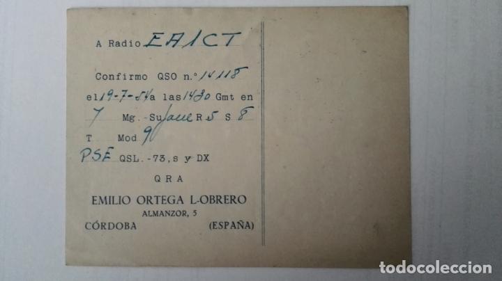 Radios antiguas: TARJETA RADIOAFICIONADO, EA-7-BC, CORDOBA, AÑOS 50 - Foto 2 - 174024263