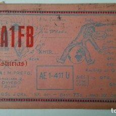 Radios antiguas: TARJETA RADIOAFICIONADO, EA-1-FB, ASTURIAS, OVIEDO, AÑOS 50. Lote 174024337