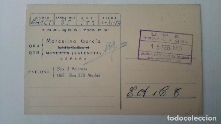 Radios antiguas: TARJETA RADIOAFICIONADO, EA-5-CY, VALENCIA, AÑOS 50 - Foto 2 - 174024398