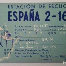 Radios antiguas: TARJETA RADIOAFICIONADO, ESPAÑA-2-162, SAN SEBASTIAN, AÑOS 50. Lote 174024513