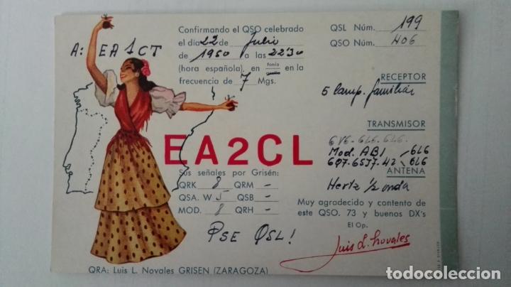 TARJETA RADIOAFICIONADO, EA-2-CL, ZARAGOZA, AÑOS 50 (Radios, Gramófonos, Grabadoras y Otros - Radioaficionados)
