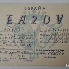 Radios antiguas: TARJETA RADIOAFICIONADO, EA-2-DV, SAN SEBASTIAN, AÑOS 50. Lote 174075589