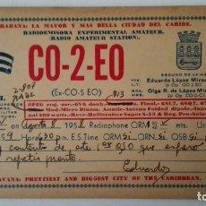Radios antiguas: TARJETA RADIOAFICIONADO, CO-2-EO, HABANA - CUBA, AÑOS 50. Lote 174075668