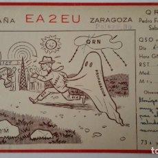 Radios antiguas: TARJETA RADIOAFICIONADO, EA-2-EU, ZARAGOZA, AÑOS 50. Lote 174075800