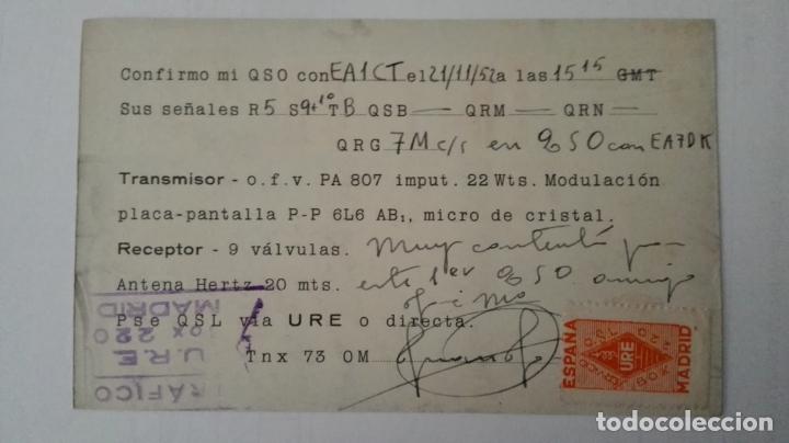Radios antiguas: TARJETA RADIOAFICIONADO, EA-7-DB, SEVILLA, AÑOS 50 - Foto 2 - 174075824