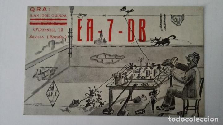 TARJETA RADIOAFICIONADO, EA-7-DB, SEVILLA, AÑOS 50 (Radios, Gramófonos, Grabadoras y Otros - Radioaficionados)