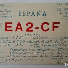 Radio antiche: TARJETA RADIOAFICIONADO, EA-2-CF, ZARAGOZA, AÑOS 50. Lote 214635966