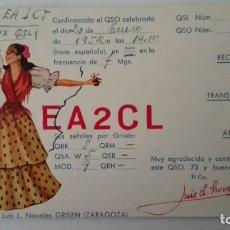 Radio antiche: TARJETA RADIOAFICIONADO, EA-2-CL, ZARAGOZA, AÑOS 50. Lote 214635996