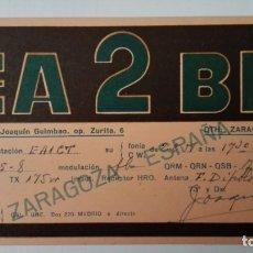Radios antiguas: TARJETA RADIOAFICIONADO, EA-2-BL, ZARAGOZA, AÑOS 50. Lote 174077525