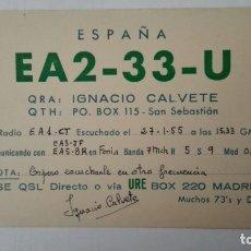 Radios antiguas: TARJETA RADIOAFICIONADO, EA-2-33-U, SAN SEBASTIAN, AÑOS 50. Lote 174077754