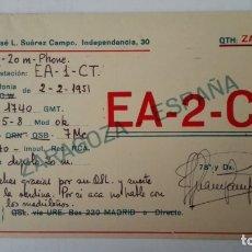 Radios antiguas: TARJETA RADIOAFICIONADO, EA-2-CK, ZARAGOZA, AÑOS 50. Lote 174077978