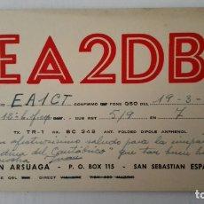 Radios antiguas: TARJETA RADIOAFICIONADO, EA-2-DB, SAN SEBASTIAN, AÑOS 50. Lote 174078114