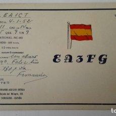 Radios antiguas: TARJETA RADIOAFICIONADO, EA-3- FG, TARRAGONA, AÑOS 50. Lote 174078267