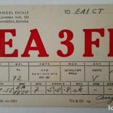Radios antiguas: TARJETA RADIOAFICIONADO, EA-3-FI, MANRESA, AÑOS 50. Lote 174078837