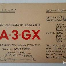 Radios antiguas: TARJETA RADIOAFICIONADO, EA-3-GX, BARCELONA, AÑOS 50. Lote 174078894