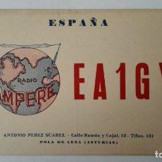 Radios antiguas: TARJETA RADIOAFICIONADO, EA-1-GY, POLA DE LENA - ASTURIAS AÑOS 50. Lote 174079373