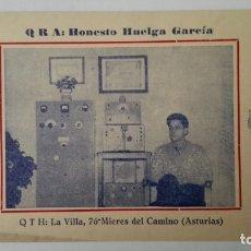 Radios antiguas: TARJETA RADIOAFICIONADO, EA-1-GR, MIERES DEL CAMINO - ASTURIAS AÑOS 50. Lote 174079635
