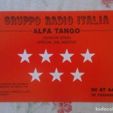 Radios antiguas: POSTAL POST CARD QSL RADIOAFICIONADOS RADIO AMATEUR COMUNIDAD DE MADRID ESPAÑA SPAIN ALFA TANGO VER . Lote 174508885