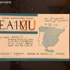 Radios antiguas: TARJETA RADIOAFICIONADO EA-1-ML/CU OVIEDO. AÑO 1950.. Lote 176488984