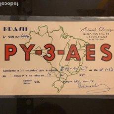 Radios antiguas: TARJETA RADIOAFICIONADO PY-3-AES BRASIL. AÑO 1953.. Lote 176493782