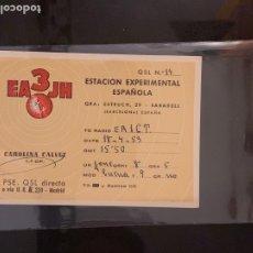 Radios antiguas: TARJETA RADIOAFICIONADO EA3JH SABADELL (BARCELONA). AÑO 1959.. Lote 176493814
