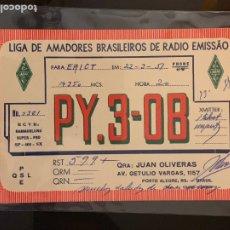 Radios antiguas: TARJETA RADIOAFICIONADO PY3-OB BRASIL. AÑO 1951.. Lote 176494375