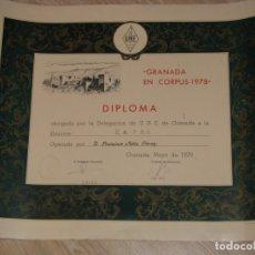 Radios antiguas: DIPLOMA RADIOAFICIONADOS, URE. GRANADA, CORPUS 1978. 52X41 CM.. Lote 176995782