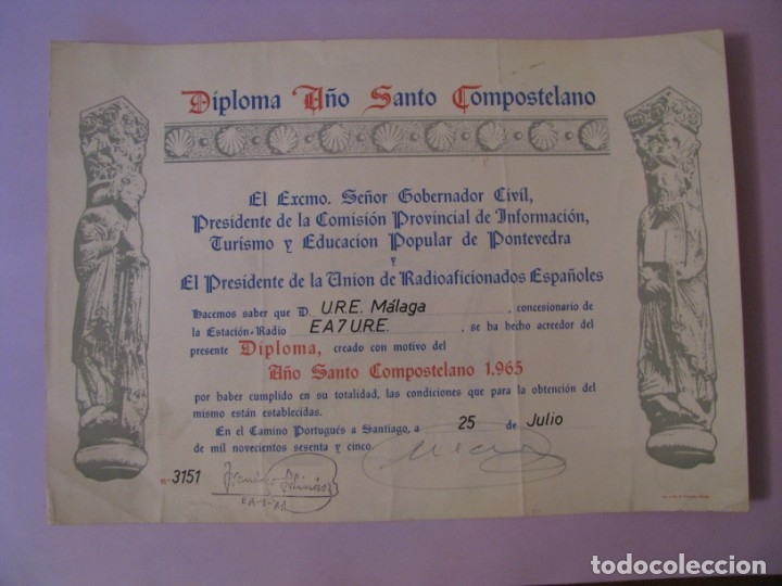 DIPLOMA RADIOAFICIONADOS, URE. AÑO SANTO COMPOSTELANO. 1965. 32X22 CM. (Radios, Gramófonos, Grabadoras y Otros - Radioaficionados)