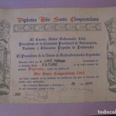 Radios antiguas: DIPLOMA RADIOAFICIONADOS, URE. AÑO SANTO COMPOSTELANO. 1965. 32X22 CM.. Lote 176996140