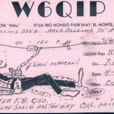 Radios antiguas: TARJETA POSTAL QSL RADIOAFICIONADO. W6QIP- RIO HONSO CALIFORNIA, 1968. RADIO AFICIONADO. Lote 179200858