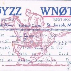 Radios antiguas: POSTAL RADIOAFIONADO SQL W0YZZ - DAVE MOLLUS - CIRCULADA 1968. Lote 179327846