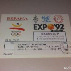 Radios antiguas: QSL TARJETA DE RADIOAFICIONADOS. EXPO 92 SEVILLA Y BARCELONA 92 JJOO. AÑO 1993. Lote 191419526