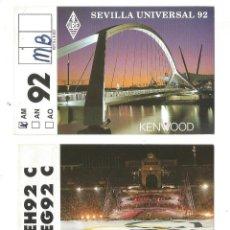 Radios antiguas: SEVILLA UNIVERSAL 92 OLIMPIADA BARCELONA 92 TARJETAS UNION RADIOAFICIONADOS ESPAÑOLES TARJETA POSTAL. Lote 198037338