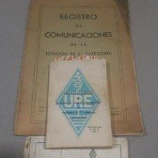 Radios antiguas: LOTE CURIOSO LIBROS Y LIBRETAS URE RADIOAFICIONADO. Lote 204513460