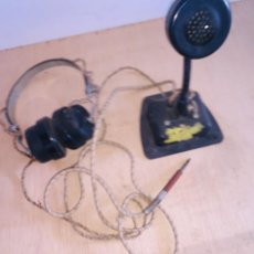 Radios antiguas: MICROFONO Y AURICULARES DEN BAQUELITA NEGRA RADIO AFICIONADO. Lote 222802937