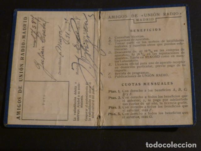 Radios antiguas: CARNET AMIGOS DE UNION RADIO MADRID 1938 GUERRA CIVIL - Foto 2 - 275847718