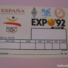 Radios antiguas: TARJETA QSL. RADIOAFICIONADOS. EXPO 92, SEVILLA, JJOO BARCELONA 92. SIN RELLENAR.. Lote 277563228