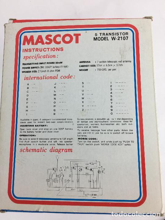 Radios antiguas: WALKIE TALKIES MASCOT W-2107 - EN SU CAJA ORIGINAL - MADE IN JAPAN - Foto 3 - 287714313