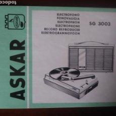 Fonógrafos y grabadoras de válvulas: INSTRUCCIONES DE TOCADISCOS ELECTRÓFONO ASKAR. Lote 121731584