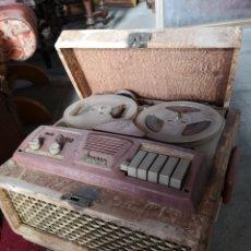 Fonógrafos y grabadoras de válvulas: ANTIGUO MAGNETOFONO MARCA AMPRO, CON MALETA DE MADERA. SIN COMPROBAR. Lote 139425862