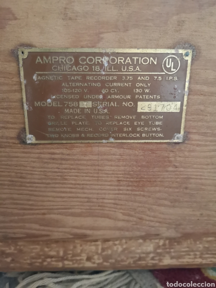 Fonógrafos y grabadoras de válvulas: ANTIGUO MAGNETOFONO MARCA AMPRO, CON MALETA DE MADERA. SIN COMPROBAR - Foto 5 - 139425862